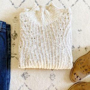 Lucky Brand Beige Bell Sleeve Loose Knit Sweater